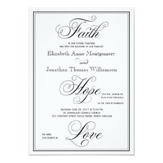 Convite elegante do casamento do roteiro do amor convite 12.7 x 17.78cm