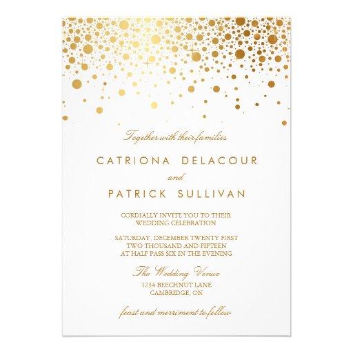 Convite elegante do casamento dos confetes da folh