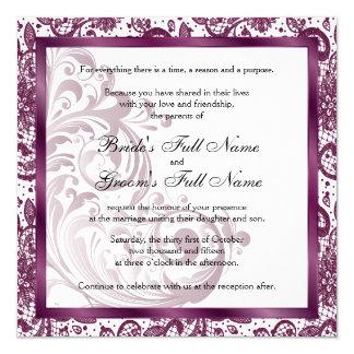 Convite elegante do casamento - roxo convite quadrado 13.35 x 13.35cm