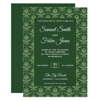 Convite elegante do casamento tema damasco do