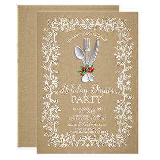 Convite elegante do comensal de Natal do feriado