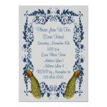 Convite elegante do design da prata do azul de convite 12.7 x 17.78cm