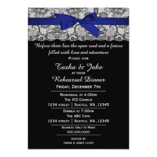 Convite elegante do jantar de ensaio do laço dos convite 12.7 x 17.78cm