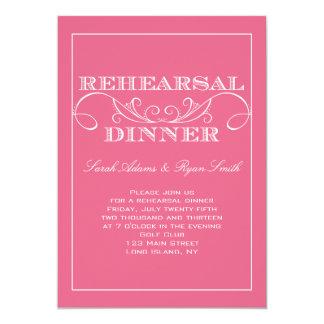 Convite elegante do jantar de ensaio do rosa do