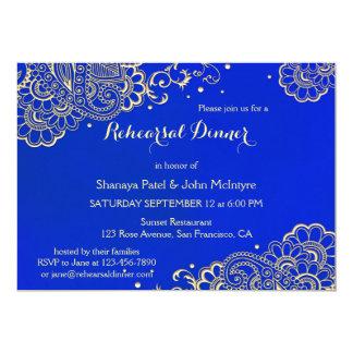 Convite elegante do jantar de ensaio dos azuis