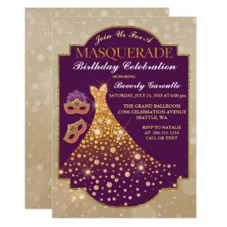 Convite elegante do mascarada do aniversário