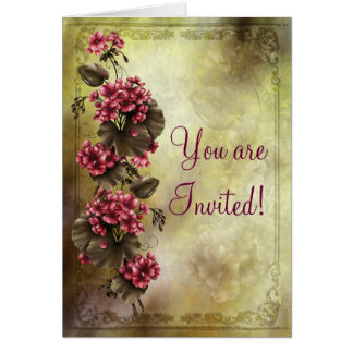 Convite elegante do noivado dos gerânio cartão comemorativo