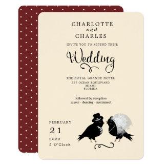 Convite elegante dos noivos bonitos dos pássaros