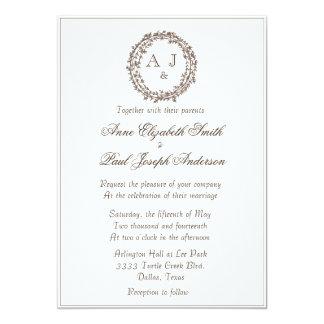 Convite elegante rústico do casamento do monograma