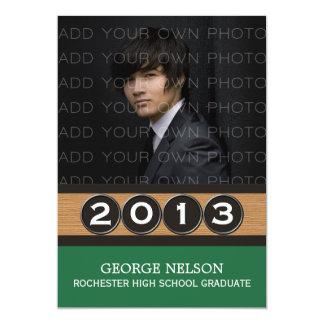 Convite elegante verde da graduação das chaves convite 12.7 x 17.78cm