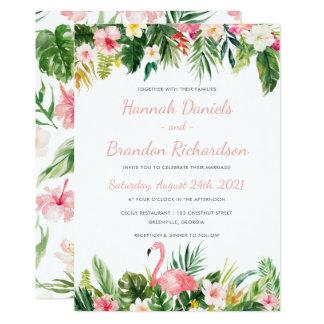 Convite em folha de palmeira tropical do casamento