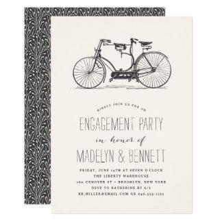 Convite em tandem da festa de noivado da bicicleta