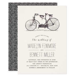 Convite em tandem do casamento da bicicleta do