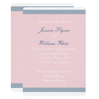 Convite empoeirado do casamento da listra azul