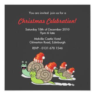 Convite engraçado da festa de Natal dos caracóis