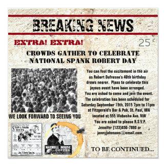 Convite engraçado do aniversário do jornal