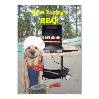 Convite engraçado do CHURRASCO do cão do
