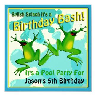 Convite engraçado dos sapos do aniversário da