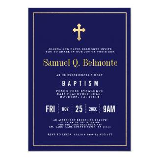 Convite escuro do marinho do baptismo
