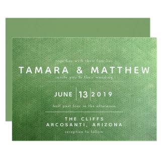 Convite esmeralda do casamento da cidade
