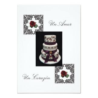 """Convite espanhol de """"bolo do casamento Flowers& """""""