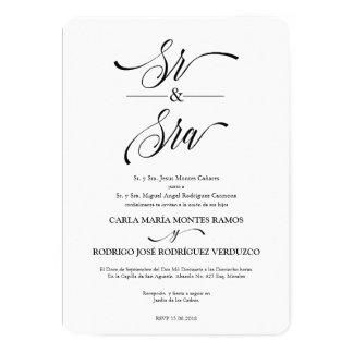 Convite espanhol do casamento do Sénior y Sra