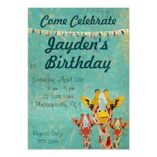 Convite espreitando do aniversário de três girafas convite 12.7 x 17.78cm