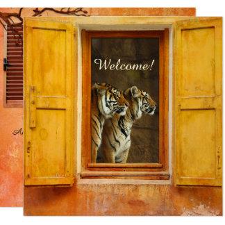 Convite exótico do casamento do gato de tigre do
