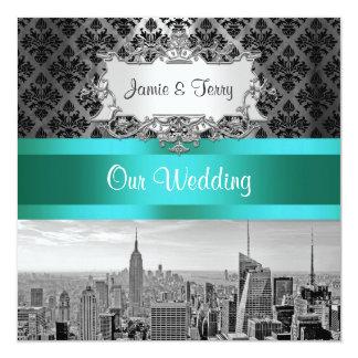 Convite F2 do casamento tema damasco de BW B3 da