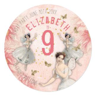Convite feericamente cor-de-rosa do aniversário do