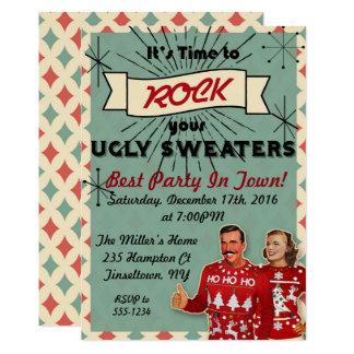 Convite feio retro da festa de Natal da camisola