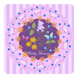Convite feito sob encomenda das flores, do urso e