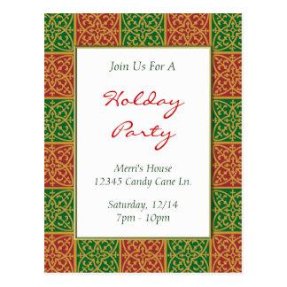Convite feito sob encomenda verde vermelho da flor cartão postal