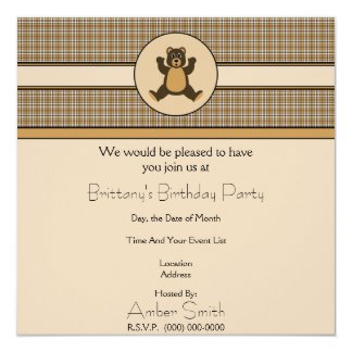 Convite feliz da xadrez de Brown do urso de Brown