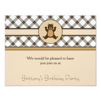 Convite feliz da xadrez do cacau do urso de Brown