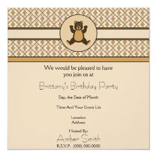 Convite feliz dos diamantes do urso de Brown