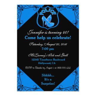 Convite fêmea do azul do aniversário do agente da