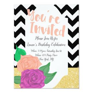 Convite feminino corajoso do aniversário