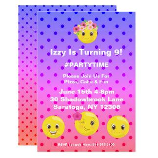 Convite feminino do aniversário de Polkadot Emoji