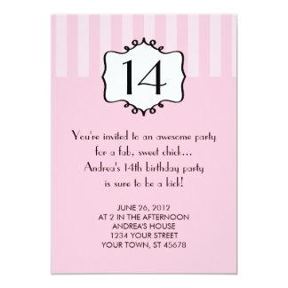 Convite feminino do aniversário do adolescente
