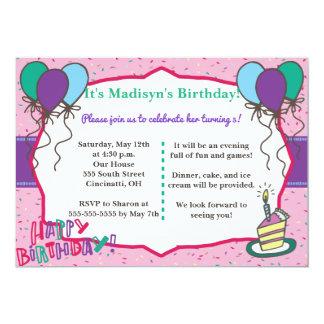 Convite feminino do aniversário do divertimento