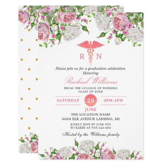 Convite Festa De Formatura Rosa Floral Da Escola De Enferm