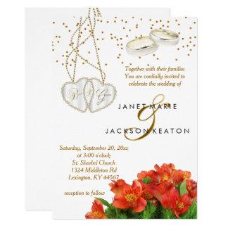 Convite floral alaranjado brilhante do casamento
