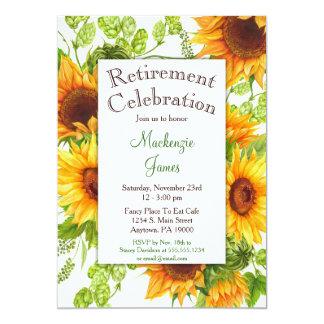 Convite floral amarelo da aposentadoria dos