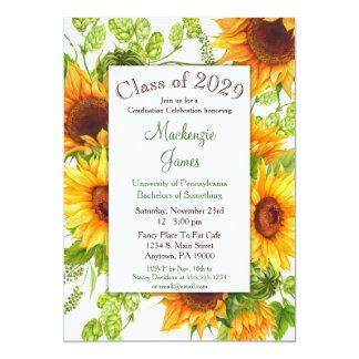 Convite floral amarelo da graduação dos girassóis