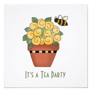 Convite floral amarelo do tea party