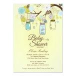 Convite floral azul chique do chá de fraldas do