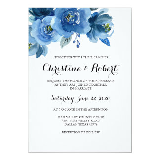 Convite floral azul do casamento