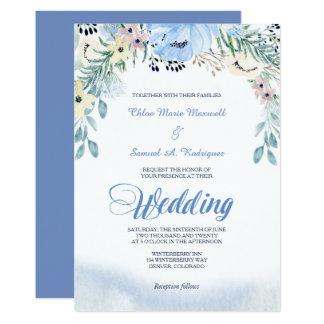 Convite floral azul do casamento da aguarela