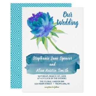 Cartão Convite floral azul do casamento da aguarela